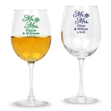 Personalized 'Mr. and Mrs.' Script Design Stemmed 12oz Wine Glasses