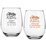 """Personalized """"Always and Forever"""" 9 oz Stemless Wine Glasses"""