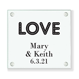 Personalized 'Love Lights' Marquee Design Glass Coaster (18 Ink Colors)