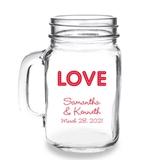 Personalized 'LOVE' Neon Lights Design 16oz Mason Jar Mug with Handle