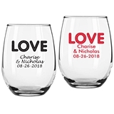 "Personalized ""Love Lights"" Design 9 oz Stemless Wine Glasses"