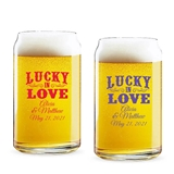 Personalized Rustic 'Lucky in Love' Design 16oz Beer Can-Shaped Glass