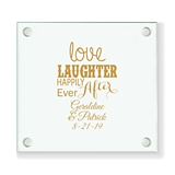 Personalized 'Love Laughter, Happily' Design Glass Coaster (18 Ink Colors)