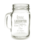 Personalized 'Love, Laughter, Happily Ever After' 16oz Mason Jar Mug