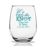 "Personalized 15oz ""We Tied the Knot"" Stemless Wine Glasses"