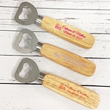 """We Tied The Knot"" Personalized Wood-Handle Bottle Opener"