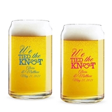Personalized 'We Tied the Knot' Design 16oz Beer Can-Shaped Glass
