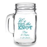 Personalized 'We Tied the Knot' Design 16oz Mason Jar Mug with Handle