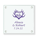 Personalized 'Hunt is Over' Antler Motif Glass Coaster (18 Ink Colors)