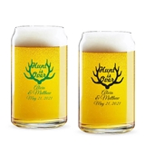 Personalized 'Hunt is Over' Antlers Design 16oz Beer Can-Shaped Glass