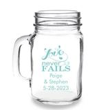 Personalized 'Love Never Fails' Design 16oz Mason Jar Mug with Handle