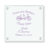 Personalized 2 Are Better Than 1 Design Glass Coaster (18 Ink Colors)