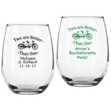 Personalized Tandem Bicycle Design 9 oz. Stemless Wine Glasses
