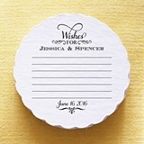 Personalized Wishes for the Bride & Groom Scalloped Coasters (Set of 25)