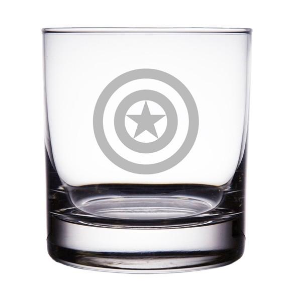 Captain America Shield Logo 10 oz 'Rocks' Glasses (Set of 2)