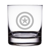 "Captain America Shield Logo 10 oz ""Rocks"" Glass"