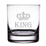King Crown Design Engraved 10 oz 'Rocks' Glasses (Set of 2)