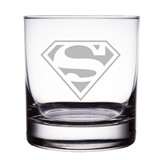"Superman Logo 10 oz ""Rocks"" Glass"