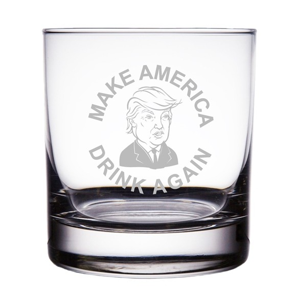 Make America Great Again Engraved 10oz Trump Rocks Glasses (Set of 2)