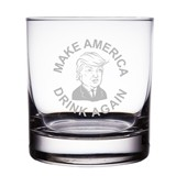 "Make America Great Again Engraved 10 oz Trump ""Rocks"" Glass"
