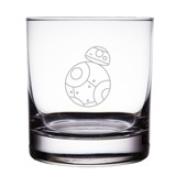 "BB-8 Astromech Droid Star Wars Engraved 10 oz ""Rocks"" Glass"