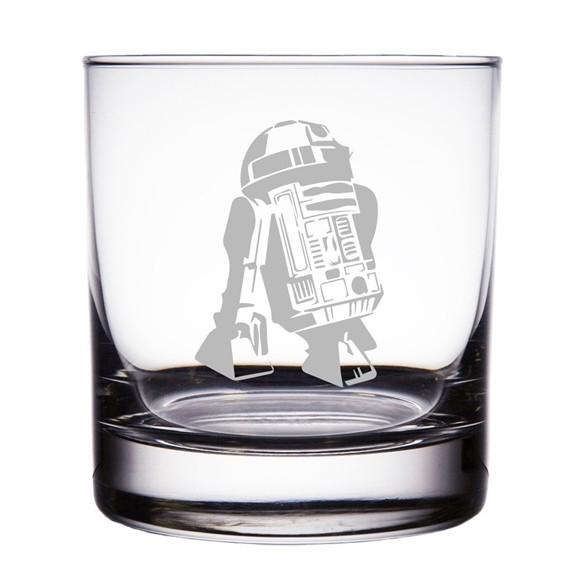 R2-D2 Astromech Droid Star Wars Engraved 10oz Rocks Glasses (Set of 2)