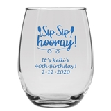Personalized 15oz Sip Sip Hooray Wine Glass Motif Stemless Wine Glass