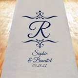 Initial Monogram with Filigrees Personalized Aisle Runner (19 Colors)