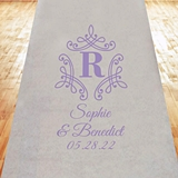Initial Monogram with Borders Personalized Aisle Runner (19 Colors)