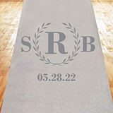 Classic Wreath Monogram Design Personalized Aisle Runner (19 Colors)