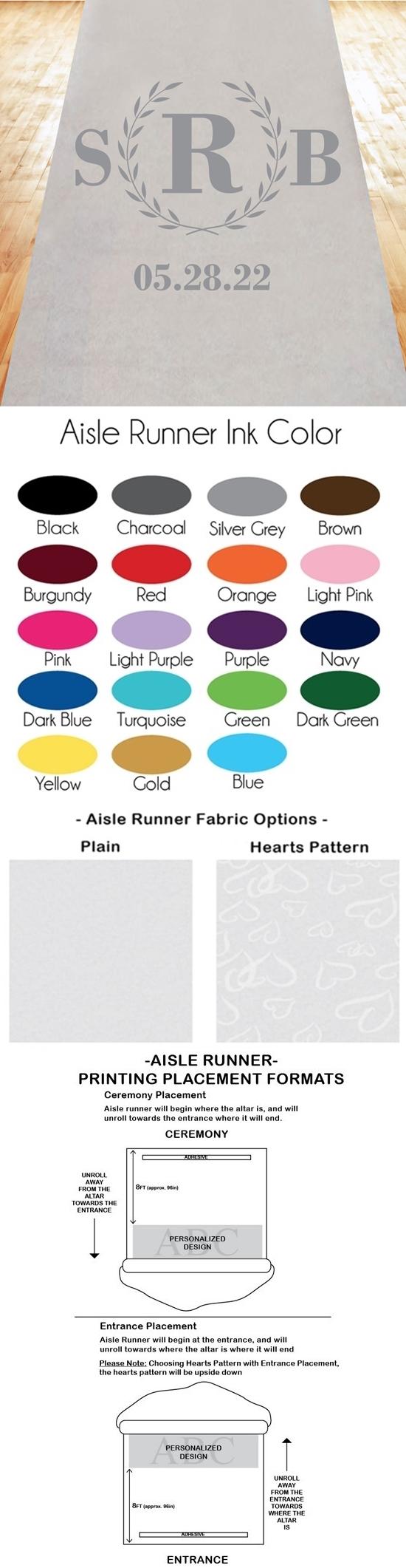 Classic Wreath Monogram Design Personalized Aisle Runner (19 Colors)