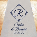 Oriental Border Initial Design Personalized Aisle Runner (19 Colors)
