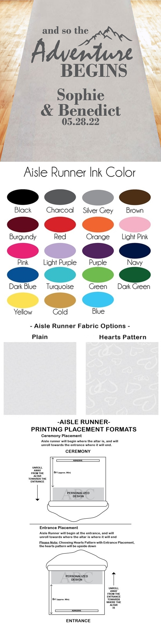 And So the Adventure Begins Personalized Aisle Runner (19 Colors)