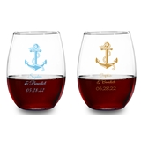 Personalized Anchor & Nautical Rope Design 9 oz Stemless Wine Glasses