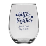 Personalized 15oz Better Together w/ Hearts Design Stemless Wine Glass