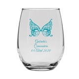 Personalized 15oz Antifaz Butterfly Mask Design Stemless Wine Glass