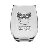 Personalized 15oz Masquerade Party Mask Design Stemless Wine Glass