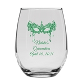 Personalized Masquerade Party Mask Design 9oz Stemless Wine Glass