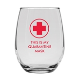 THIS IS MY QUARANTINE MASK Cross Design 15oz Stemless Wine Glass