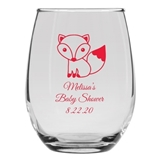 Personalized 15oz Adorable Baby Fox Design Stemless Wine Glass