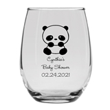 Personalized 15oz Precious Baby Panda Design Stemless Wine Glass