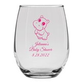 Personalized 15oz Delightful Baby Hippo Design Stemless Wine Glass