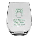 Personalized 15oz Charming Baby Owl Design Stemless Wine Glass
