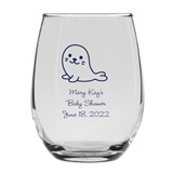 Personalized 15oz Adorable Baby Seal Design Stemless Wine Glass
