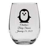 Personalized 15oz Charming Baby Penguin Design Stemless Wine Glass