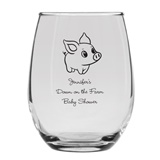 Personalized 15oz Precious Baby Piglet Design Stemless Wine Glass