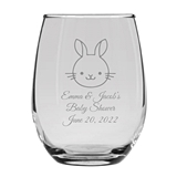 Personalized 15oz Charming Baby Bunny Design Stemless Wine Glass