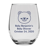 Personalized 15oz Precious Baby Bear Cub Design Stemless Wine Glass