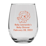 Personalized 15oz Adorable Baby Lion Cub Design Stemless Wine Glass