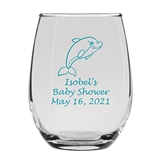 Personalized 15oz Delightful Baby Dolphin Design Stemless Wine Glass